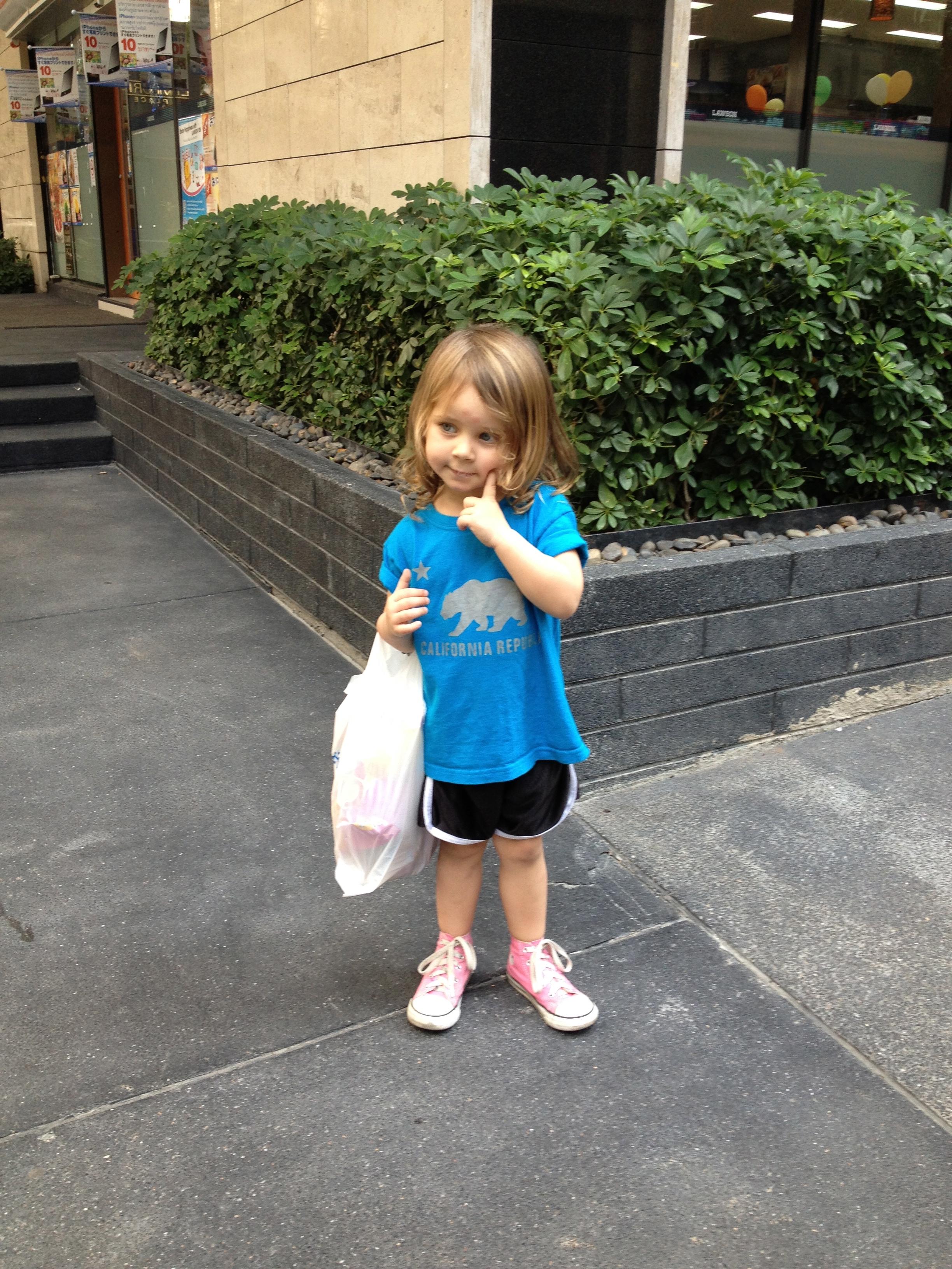 Senya with groceries